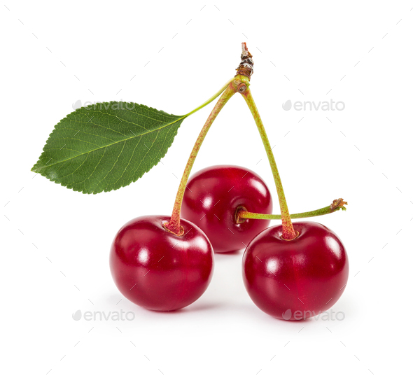 Three ripe cherries on stem with leaf isolated on white backgrou - Stock Photo - Images