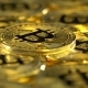 Bitcoin Coins Spin Lying on the Table - VideoHive Item for Sale