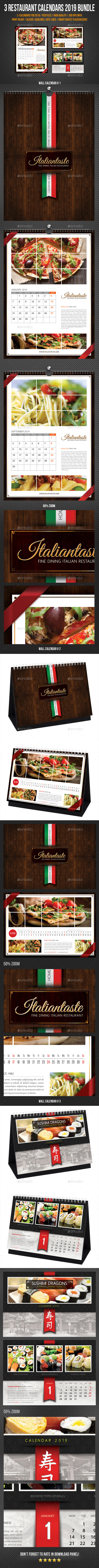 Restaurant Calendars 2019 Bundle - Calendars Stationery