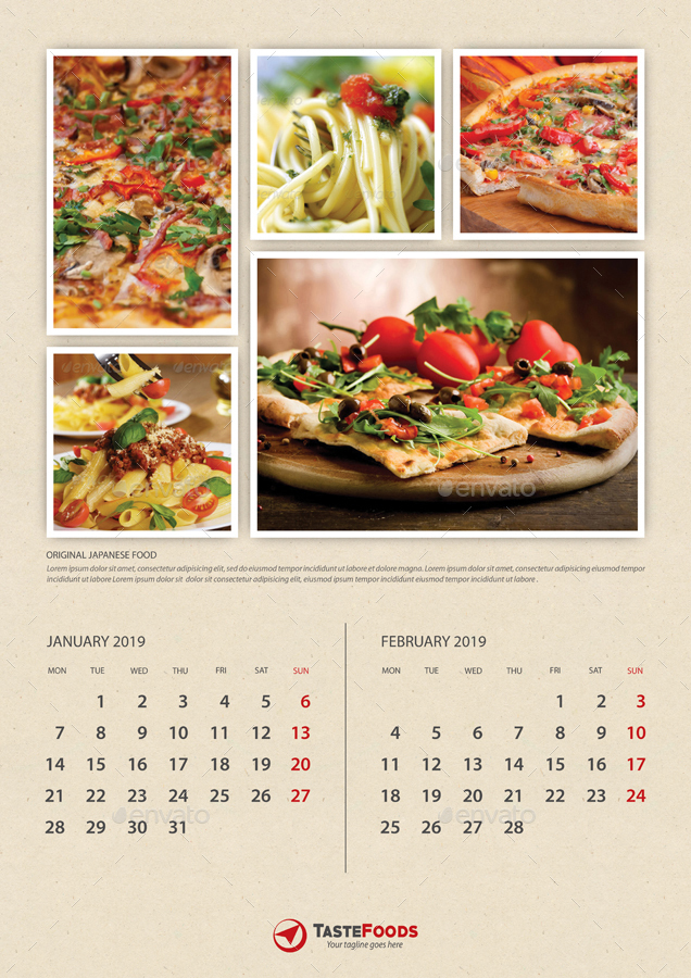 Cook And Food Calendars 2019 Bundle 02 By Rapidgraf