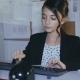 Stylish Young Girl Willingly Works with Computer in Office - VideoHive Item for Sale