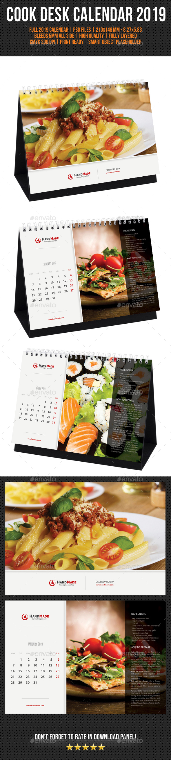 Cook And Food Desk Calendar 2019 - Calendars Stationery