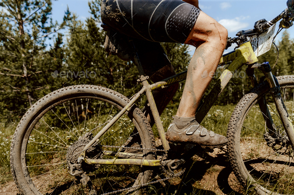 dirty feet and bike athlete cyclist - Stock Photo - Images