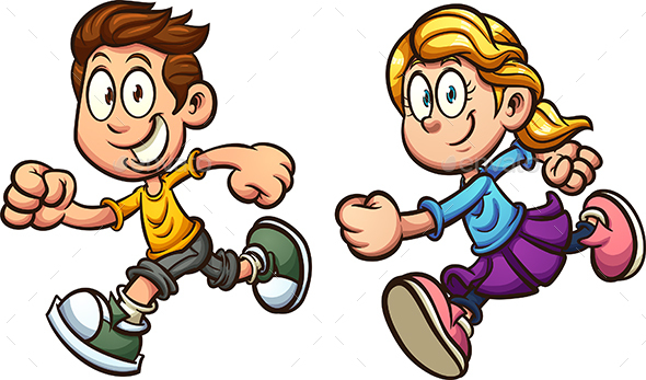 Running Kids - People Characters