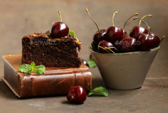 Chocolate Pie Cake - Stock Photo - Images