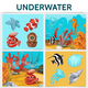 Cartoon Underwater Life Square Concept - GraphicRiver Item for Sale