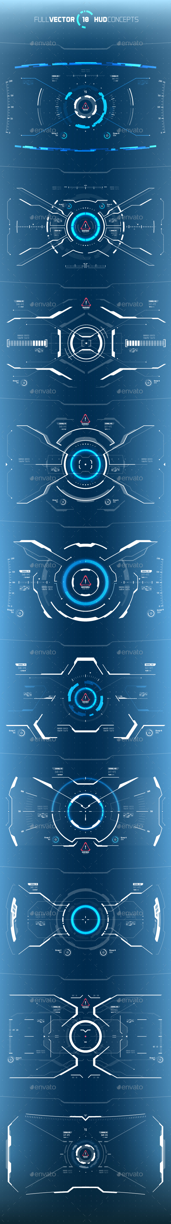 Conceptual 10 Hi-Tech HUD Set - Miscellaneous Vectors