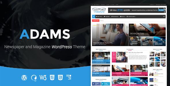 Adams - Responsive Retina WordPress News, Magazine, Blog - News / Editorial Blog / Magazine
