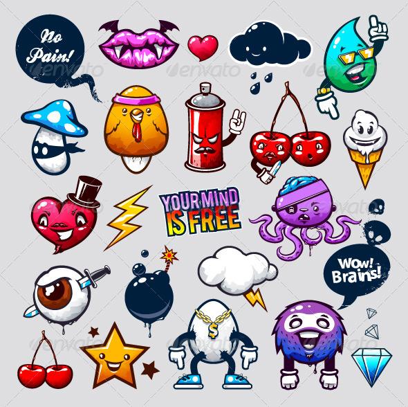 Graffiti bizarre characters - Characters Vectors