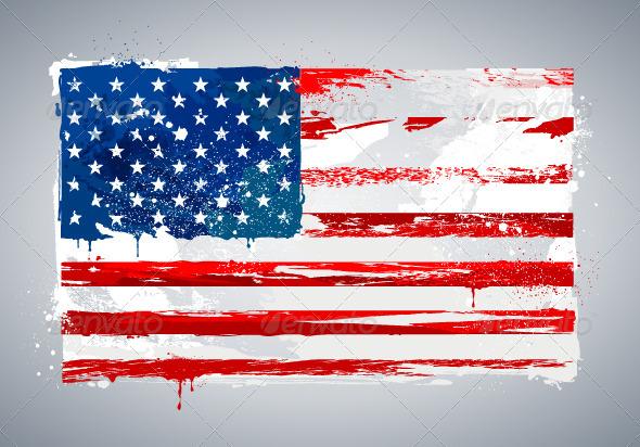 Grunge USA national flag - Travel Conceptual