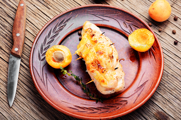 Chicken breasts cooked with apricot - Stock Photo - Images
