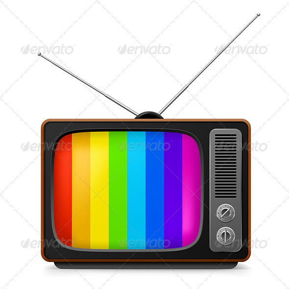 Realistic vintage TV with Color Frame - Man-made Objects Objects