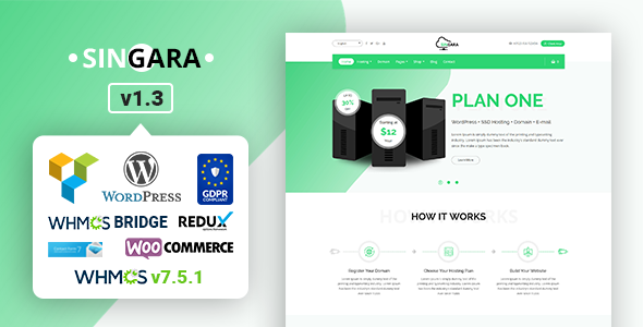 Singara - Multipurpose Hosting with WHMCS WordPress Themes - Hosting Technology