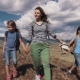 Family of Tourists on a Journey Mother with Two Daughters in the Campaign Children with Backpacks - VideoHive Item for Sale