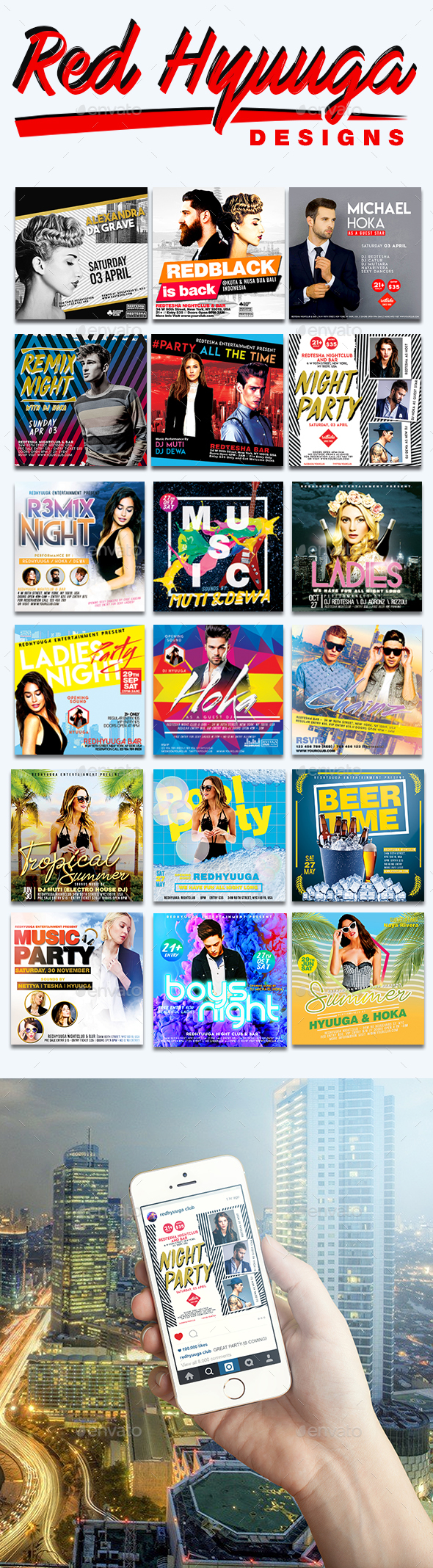 Instagram Night Club Banner Ads Bundle - Banners & Ads Web Elements