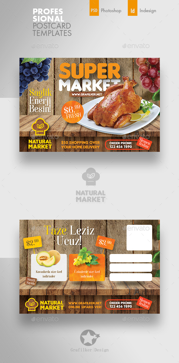 Supermarket Promotion Postcard Templates - Cards & Invites Print Templates