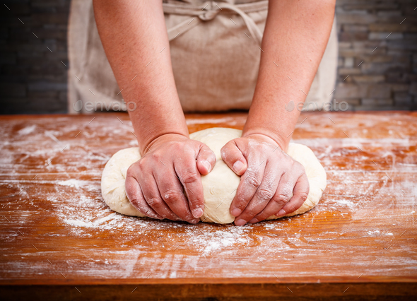 Female hands making dough - Stock Photo - Images