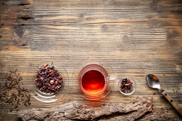 Flat lay view of cup of tea - Stock Photo - Images