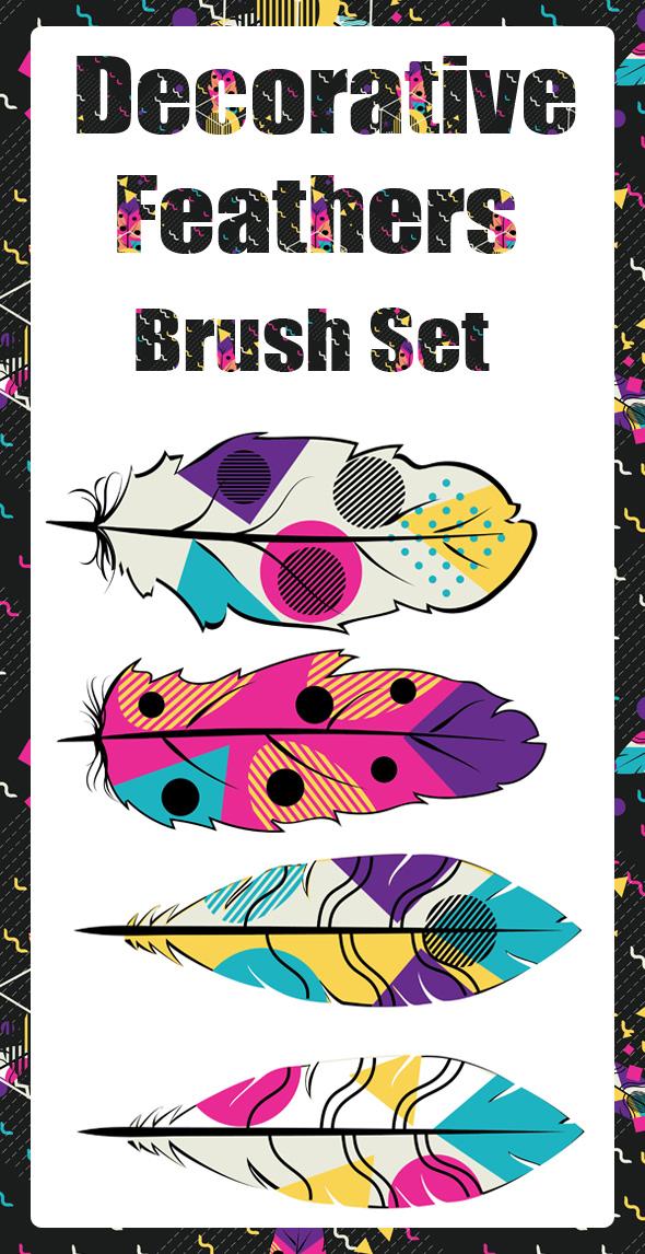 Decorative Feathers Brush Set - Brushes Illustrator