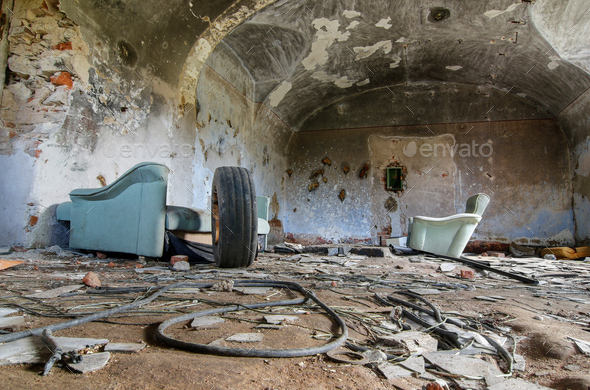 Ruins of old industrial buildings - cozy room - Stock Photo - Images