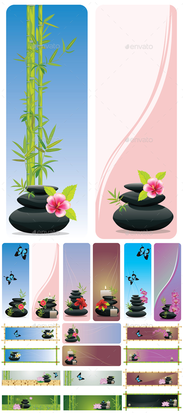 Flower and Zen Stones Banner - Health/Medicine Conceptual