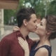 Sensitive Kiss. Girl Closes Man's Eyes with His Hands for Surprise - VideoHive Item for Sale
