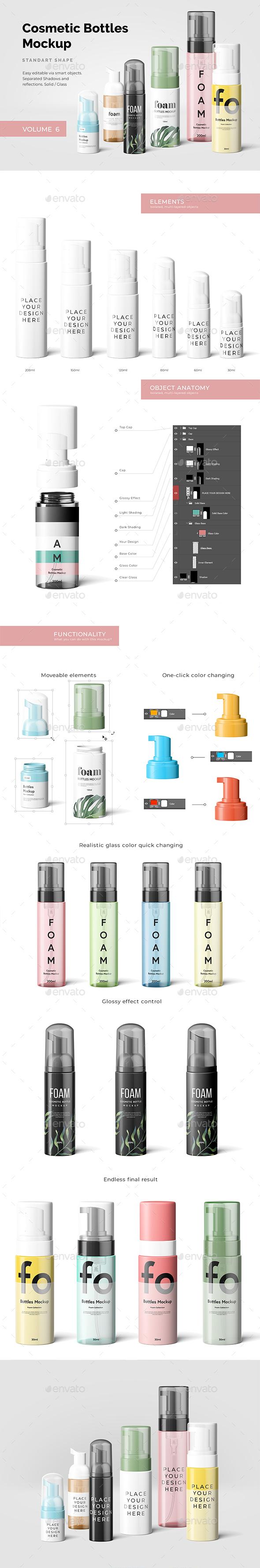 Cosmetic Bottles Mockup Vol.6 - Beauty Packaging