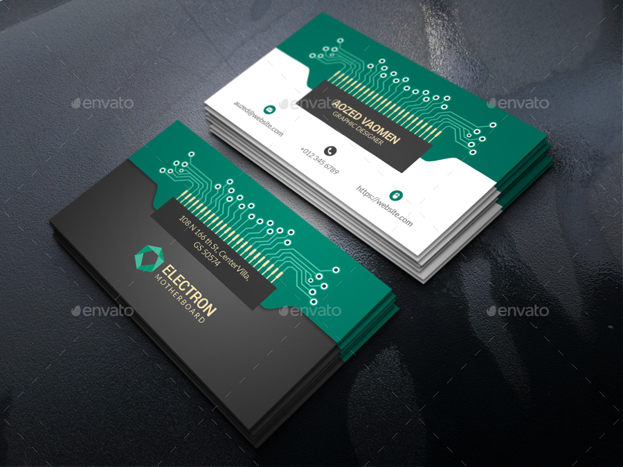 Electronics Business Card by -axnorpix  GraphicRiver