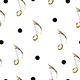 seamless pattern with gold musical notes and polka dots - 3DOcean Item for Sale