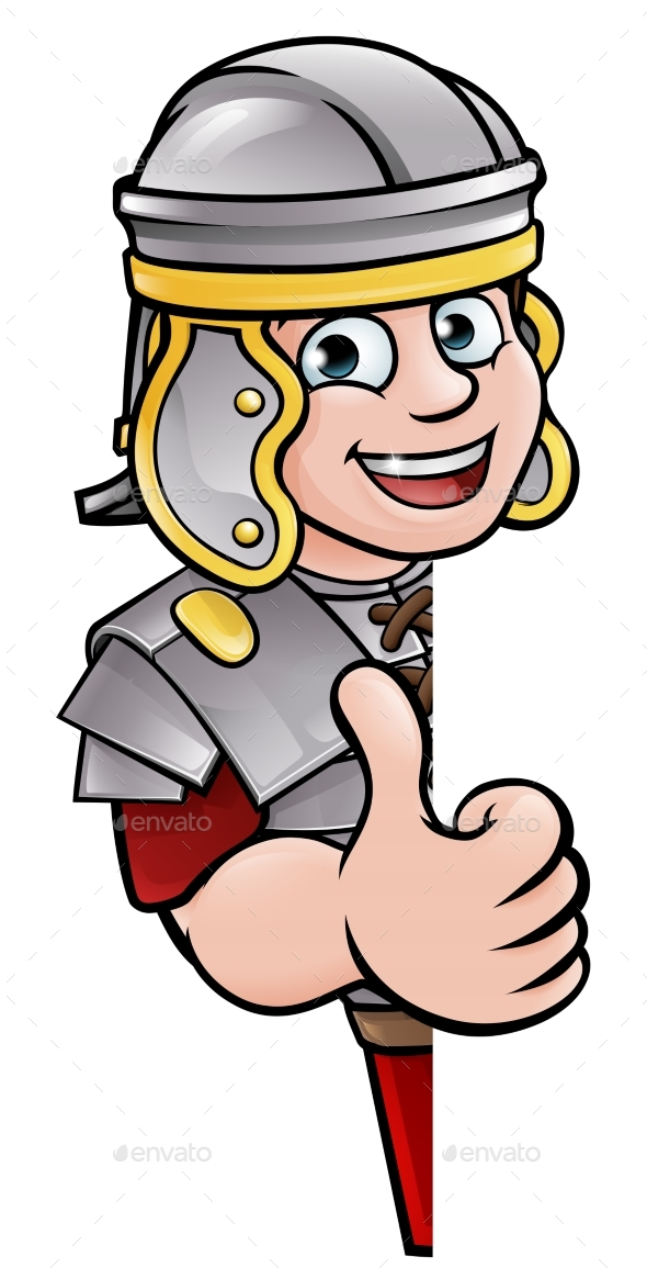 Cartoon Ancient Roman Peeking Around Sign - People Characters
