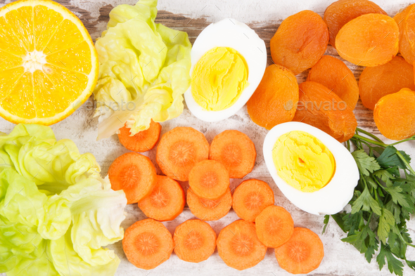 Healthy products as source vitamin A, minerals and dietary fiber, nutritious eating concept - Stock Photo - Images
