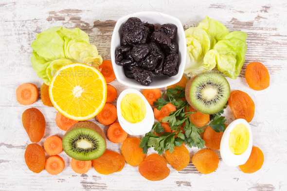 Ingredients as source vitamin A, natural minerals and dietary fiber - Stock Photo - Images