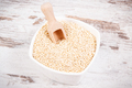 Quinoa seeds with scoop in glass bowl as source healthy minerals and vitamins - PhotoDune Item for Sale