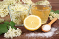 Flowers and juice of elderberry, ingredients for preparing healthy beverage - PhotoDune Item for Sale