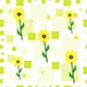 seamless tileable texture with yellow sunflowers and green squares - 3DOcean Item for Sale