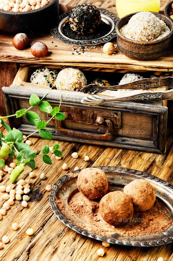 Vegan chocolate truffles - Stock Photo - Images