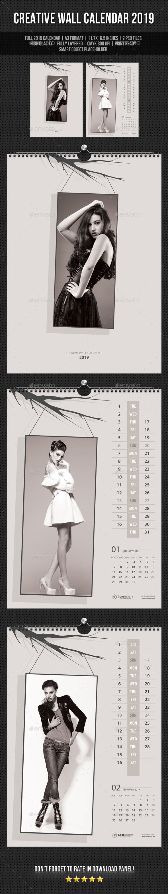 Creative Wall Calendar 2019 V17 - Calendars Stationery