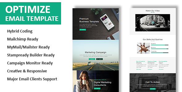 Optimize - Multipurpose Responsive Email Template with Online StampReady Builder Access - Newsletters Email Templates