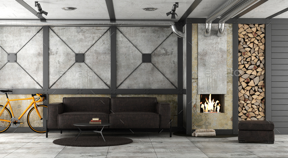 Living room in a loft with fireplace - Stock Photo - Images