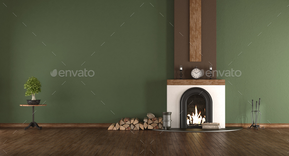 Green room with fireplace - Stock Photo - Images