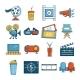 Cinema Icons Set Symbols Cartoon Style