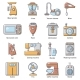 Domestic Appliances Icons Set Cartoon Style