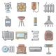 Heat Cool Air Flow Tools Icons Set Cartoon Style - GraphicRiver Item for Sale