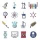 Chemistry Laboratory Icons Set Cartoon Style