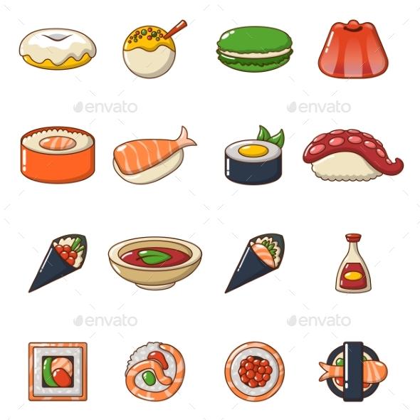 Japan Food Icons Set Cartoon Style - Food Objects