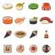 Japan Food Icons Set Cartoon Style