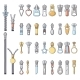 Metal Zipper Puller Icons Set Cartoon Style