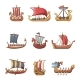 Viking Ship Boat Drakkar Icons Set Cartoon Style - GraphicRiver Item for Sale