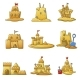 Sandcastle Beach Icons Set Cartoon Style