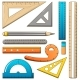 Ruler Measure Pencil Icons Set Cartoon Style